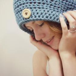 Slouchy Beanie Crochet Blue with Button